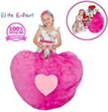 """Elite Enfant LARGE Pink Heart Shape Stuffed Animal Storage Bean Bag Chair - 40"""" Comfy Premium Plush Fabric Prefer Over Canvas - The Ultimate Toy Storage Solution To Clean Up Kids & Teenagers Room"""