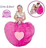 "Elite Enfant LARGE Pink Heart Shape Stuffed Animal Storage Bean Bag Chair - 40"" Comfy Premium Plush Fabric Prefer Over Canvas - The Ultimate Toy Storage Solution To Clean Up Kids & Teenagers Room"