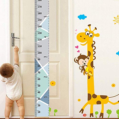Baby Growth Chart Wood Frame Canvas Wall Hanging Decoration Kids Flexible Height Measurement Ruler 7.9x79 Inch (Macaron ()