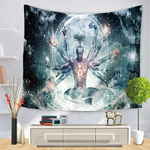 (Tapestry Wall Hanging, Sitting Buddha with Many Hands,Indian Bohemia Hippie Gothic Psychedelic Trippy Ethnic Large Rectangular Printed Fabric Modern Abstract Art Home Wall Decor for Living Room Bedro)