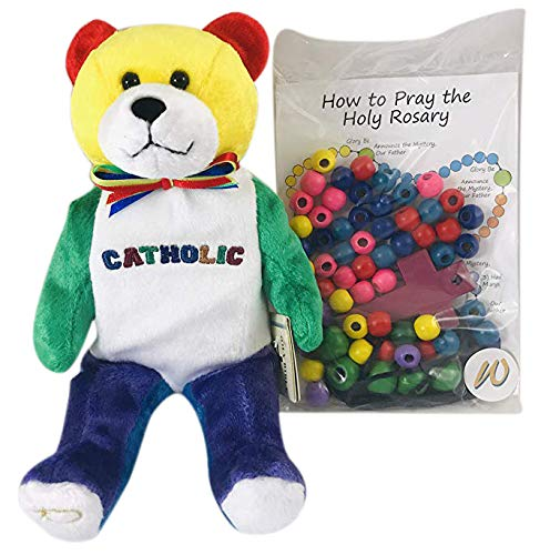 (Make Your Own Rosary Craft with Plush Catholic Teddy Bear Gift Set)