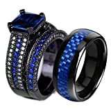 LOVERSRING Couple Ring Bridal Set His Hers Black Gold Plated Blue CZ Stainless Steel Wedding Ring Band