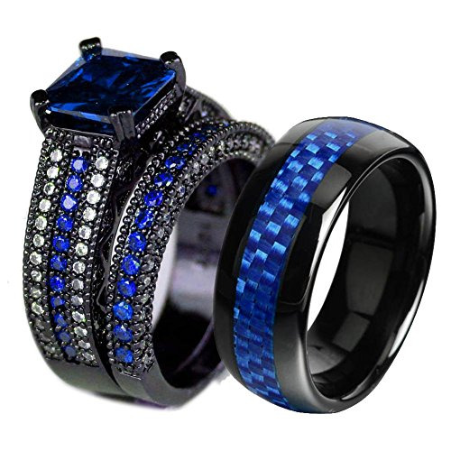 LOVERSRING Couple Ring Bridal Set His Hers Black Gold Plated Blue CZ Stainless Steel Wedding Ring Band by LOVERSRING