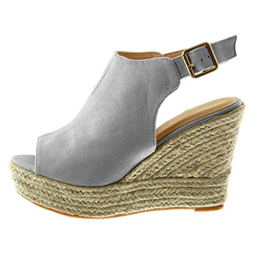 Angkorly Damen Schuhe Mule Sandalen - Plateauschuhe - Peep-Toe - Knöchelriemen - Seil - Geflochten Keilabsatz High Heel 11 cm Hellgrau