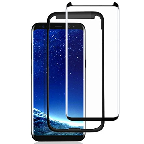 Galaxy S8 Screen Protector,Samsung S8 Tempered Glass Protector,Case Friendly,3D Curved,100% Touch Sensitivity,HD Clear,Scratch Resistant,Bubble Free,Glass Screen Protector for Samsung Galaxy S8 5.8