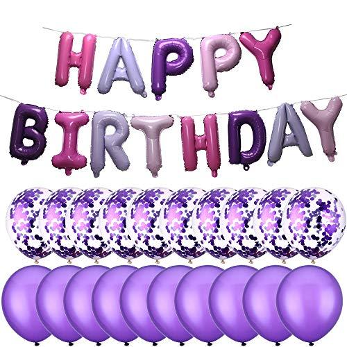 PartyMart Purple Happy Birthday Balloon Confetti Balloons