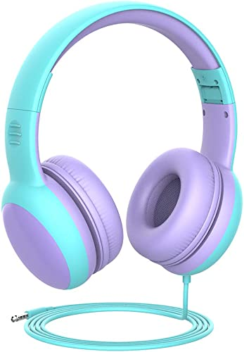gorsun Kids Headphones with Limited Volume, Children Headphone Over Ear, Kids Headphones for Boys and Girls, Wired Headset for Children-Purple