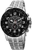 August Steiner Men's AS8118SSB Swiss Quartz Black Stainless Steel Bracelet Watch