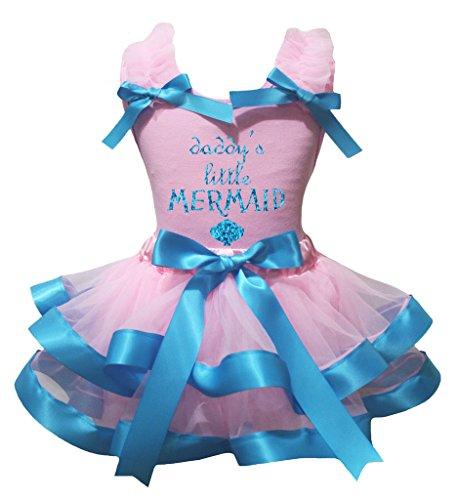 [Petitebella Daddy's Little Mermaid Shirt Peacock Blue Pink Petal Skirt Set Nb-8y (4-5 Years)] (Little Mermaid Tutu Dress)