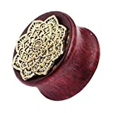Acccity Natural Wood Gold Metal Flower Flesh Tunnel Double Flared Ear Stretcher Saddle Plugs Gauge 1 Piece 10mm - 20mm (Brown, 10mm)