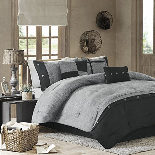 Boone 7 Piece Comforter Set Grey King (Platform Bed Comforter Sets)