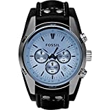 Fossil Men's CH2564 Blue Glass Silver Watch With Black Leather Cuff