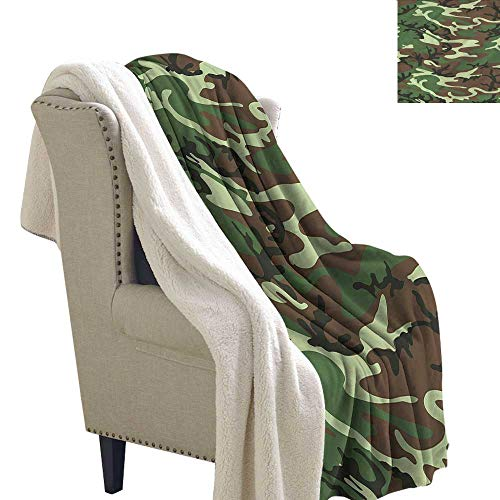 Jaydevn Camo Lightweight Fluffy Flannel and Sherpa Blanket Classic American Woodland Warm Breathable Comforter for Girls Kids Adults 60x47 Inch ()