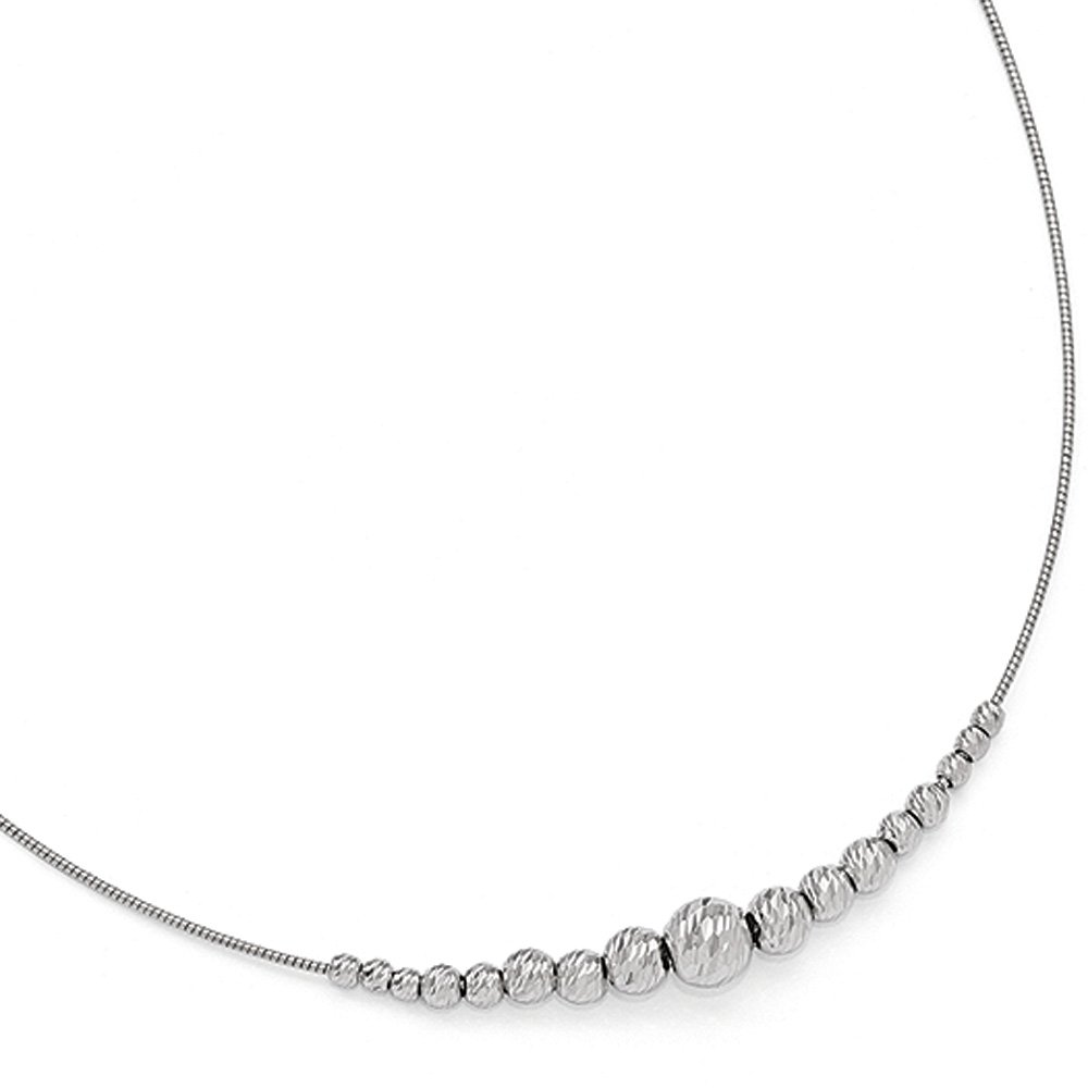 Diamond Cut Graduated Bead Necklace in Sterling Silver, 16-18 Inch