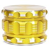 4 way grinder - Herb Grinder 2.5 Inches 4 piece 3 chamber-Built-in Hidden Mesh screen design for fine pollen filtering (Gold)