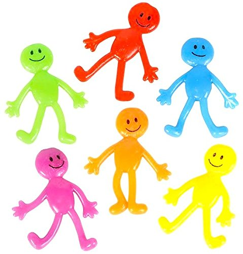 Price comparison product image NELIBLU Stretch Smiley Face Sticky Guy Figures, 1 Dozen