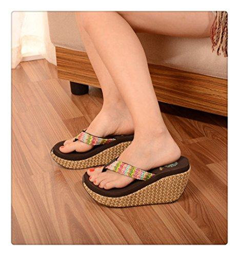 Always Pretty Womens Comfortable Straw Wedge Sandals Coffee pDoIGhNo