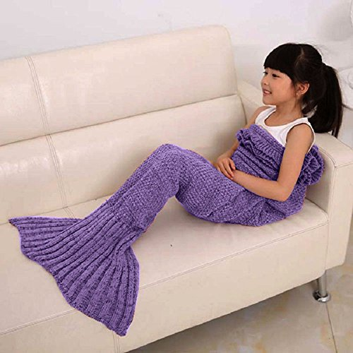 EagleUS Children Crocheted Mermaid Blanket