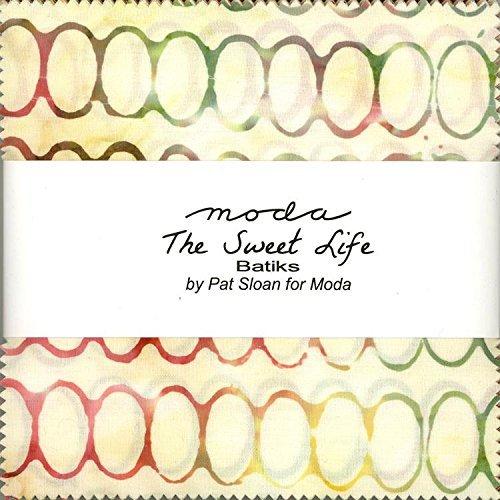 Moda Fabric Batik - Pat Sloan Sweet Life Batiks Charm Pack 40 5-inch Squares Moda Fabrics 43057PP