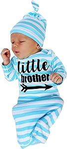 DPSKY Newborn Baby Sleeper Gowns & Headband Little Sister Brother Printed Striped Baby Sleeping Bag (Blue)