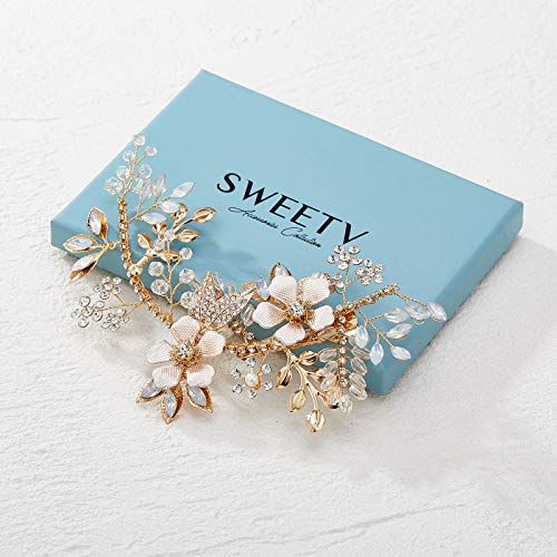 SWEETV Handmade Wedding Hair Clip Flower Bridal Hair Comb Piece, Gold Hair Accessories for Brides Wedding
