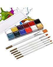 12 Colors Solid Oily Face Paint Pigment Greasepaint Kit with 6pcs Paintbrush Brushes Safe Body & Face Paint Facepaints Bodypaint for Artist Students Drawing Painting Art Supplies (12 Color)