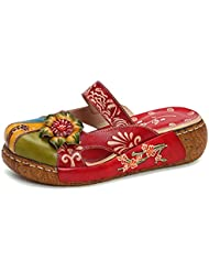 Gracosy Leather Slipper, Womens Oxford Slipper Vintage Slip-ONS Colorful Flower Backless Loafer Shoes