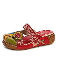 Gracosy Women's Leather Slipper, Ladies Summer Slip-ONS Flat Sandals Oxford Vintage Colorful Flower Backless Loafer Shoes