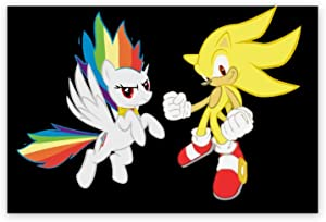 Gibson annime Sonic Poster,Super Sonic Hedgehog Rainbow Dash Black,3D Print Wall Art for Living Room,Bedroom,College Dorm Home Decorations Giclee Oil Paintings,24x36 inch