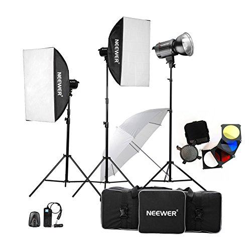 Neewer 900W(300W x 3)Professional Photography Studio Flash Strobe Light Lighting Kit for Portrait Photography,Studio and Video Shoots( MT-300AM) by Neewer