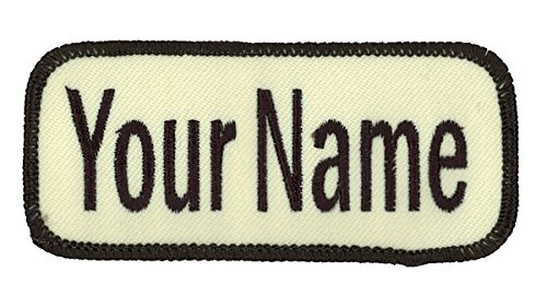 Name patch Uniform or work shirt personalized Identification tape Embroidered Sew On, Hook Fastener or Iron on, Dark Brown/Rice Arial, Hook -