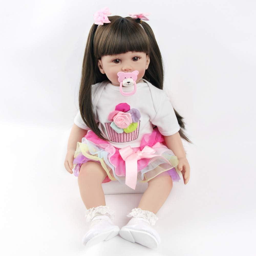 ZIYIUI 24 Pollici 60 cm Reborn Baby Dolls Morbido Silicone Ragazza Bambola Panno Corpo Vita Reale Guardando Come Bambole Appena Nate Giocattolo Bambino Regalo di Natale