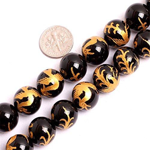 12mm Natural Semi Precious Black Agate zhuque phonix mala Gemstone Beads for Jewelry Making Strand 15