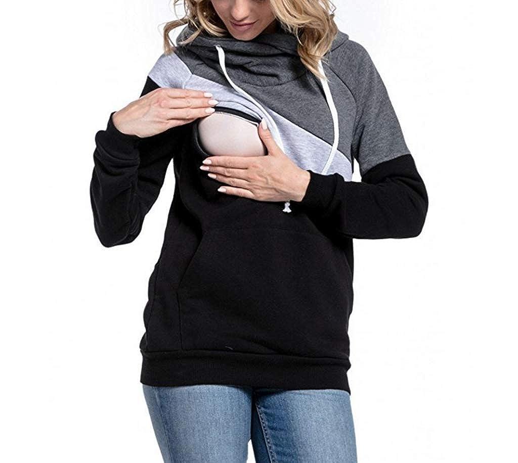 Frauen Stillen Hoodies Multifunktions-Sweatshirt Stitching langärmelige Mutter Stillen Top