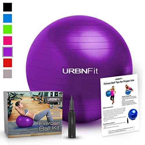 Exercise Ball (Multiple Sizes) for Fitness, Stability, Balance & Yoga - Workout Guide & Quick Pump Included - Anti Burst Professional Quality Design (Purple, 55CM)