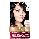L'Oréal Paris Excellence Créme Permanent Hair Color, 1C Cool Black, 1 kit 100% Gray Coverage Hair Dye