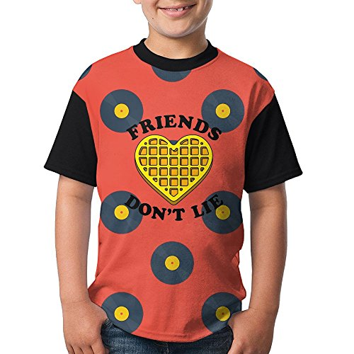 HandsomeT Friends Dont Lie Waffle Youth Personalized Short Sleeve T Shirts Comfortable (Boys Waffle Short Sleeve Tee)