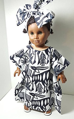 18 inch Doll size Ethnic Handmade Kaftan. Vibrant African Print Kaftan with Head Wrap. Fits American Girl, Our Generation, Madame Alexander Dolls. LIMITED EDITION