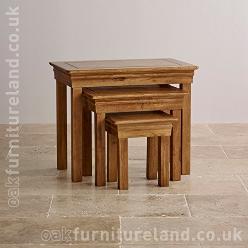 French Farmhouse Solid Oak Nest of Tables