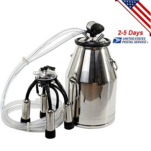 m USA 25L 304 Stainless Steel Portable Cow Milker Bucket Tank Milking Machine Adjustable without Pump (25l Tank)