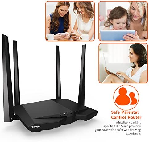 Tenda AC1200 Dual Band WiFi Router, High Speed Wireless Internet Router with Smart App, MU-MIMO for Home (AC6),Black
