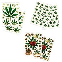 6 Sheets Cannabis Marijuana Leaf Decorative Scrapbook Reflective Stickers - Size 4 X 5.25 Inch./sheet