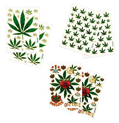 6 Sheets Cannabis Marijuana Leaf Decorative Scrapbook Reflective Stickers - Size 4 X 5.25 Inch./sheet