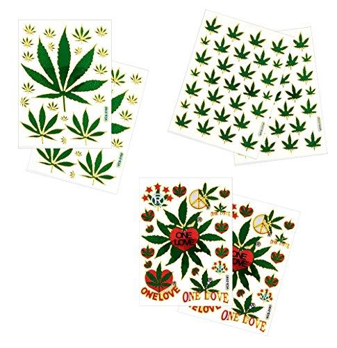 Embellishments Silver Bookmark (6 Sheets Cannabis Marijuana Leaf Decorative Scrapbook Reflective Stickers - Size 4 X 5.25 Inch./sheet)
