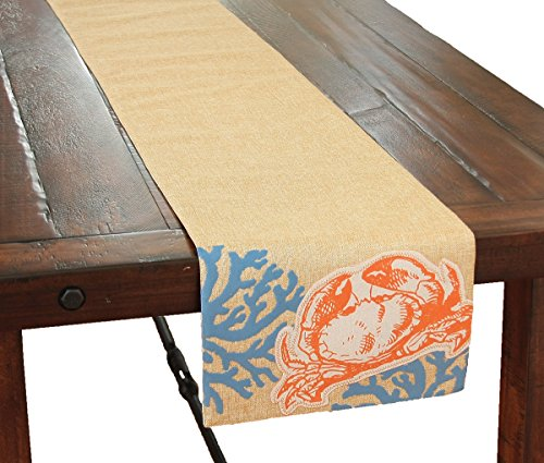 - Xia Home Fashions Applique Crab with Print Coral Coastal Table Runner, 13.5 by 72-Inch, Sea Shell