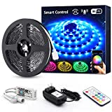 Novostella Smart RGB LED Strip Lights Kit, 20ft Wireless Color Changing 5050 LEDs, RF Remote Dimmable 12V Non-Waterproof LED Tape for Home Lighting Bar, Working with Alexa Goolge Assistant, UL Listed