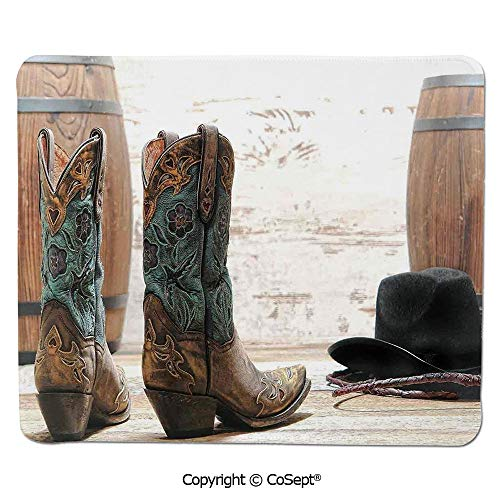 Ergonomic Mouse pad,Cutouts with Black Cowboy Hat Infront of a Rustic Barrel and Background Racing Event,Water-Resistant,Non-Slip Base,Ideal for Gaming (7.87
