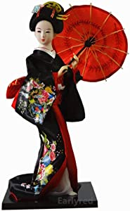 Red Japanese Geisha Kimono Doll - 12 Inch(30cm), Asian Kimono Doll Collectible Figurine Decoration Gift