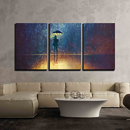 Girl Under Umbrella (wall26 - 3 Piece Canvas Wall Art - Lonely Woman under Umbrella Lights in the Dark,Digital Painting - Modern Home Decor Stretched and Framed Ready to Hang - 16
