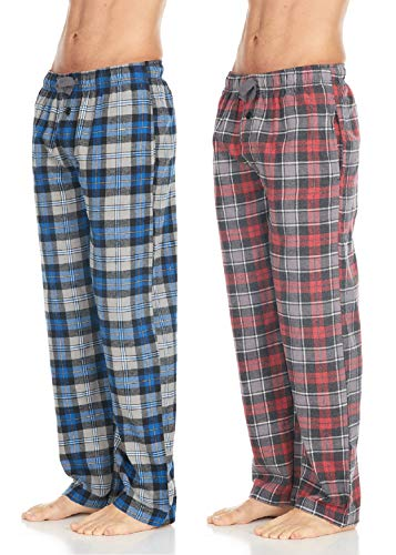 (Men's Cotton Super-Soft Flannel Plaid Pajama Pants/Lounge Bottoms with Pockets, Grey Blue/Red Grey, Medium)